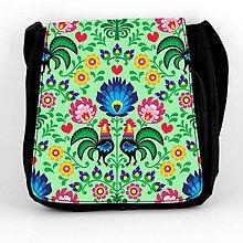 Iné tašky - Taška na plece L farebné folk kvety (Zelená) - 8854267_