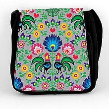 Iné tašky - Taška na plece L farebné folk kvety (Šedá) - 8854270_