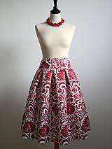 Sukne - slávnostná sukňa Červený ornament - 8856049_