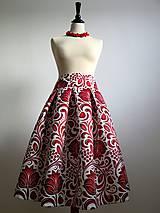 Sukne - slávnostná sukňa Červený ornament - 8856050_