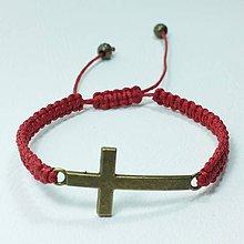 Náramky - Vypletaný náramok krížik - 8854107_
