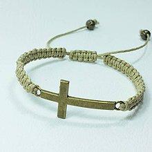 Náramky - Vypletaný náramok krížik - 8854139_