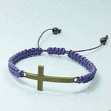 Náramky - Vypletaný náramok krížik - 8854219_