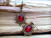 - Starozlaté antique náušnice s červenými kamienkami - 8853667_