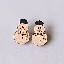 Náušnice - snehuliak s červenou mrkvičkou - napichovačky - 8855258_