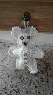 Dekorácie - Ľanový macko zo starých čias - hračka alebo dekorácia - 8851744_