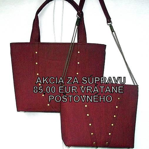 357ceda83c Súprava tašiek DUO - bordový denim   EvitaSk - SAShE.sk - Handmade ...