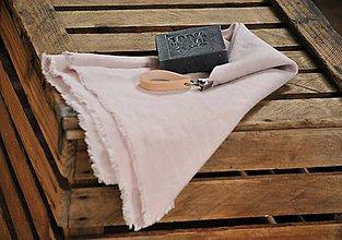 Úžitkový textil - ľanový uterák s odnímateľným koženým pútkom (sivoružový) - 8852402_