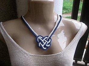 Náhrdelníky - Uzlový náhrdelník (Námornícky modro biely č.1625) - 8852927_