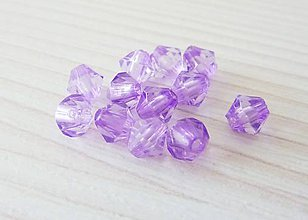 Korálky - Bikonky plastové, 5x5 mm, fialová- výpredaj! - 8855183_