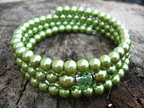 Náramky - Náramok z perličiek - vyber si (zelený) - 8853423_