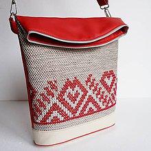 """Veľké tašky - Vyšívaná kabelka """"krém a červená"""" - 8855774_"""