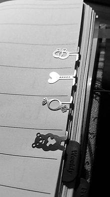 Papiernictvo - Mini kovové záložky - 4+1 Zdarma (Svadobné) - 8854025_