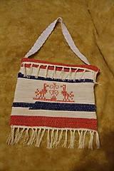 Iné tašky - Tkaná taška bielo-modro-červená s výšivkou - 8851377_