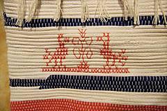 Iné tašky - Tkaná taška bielo-modro-červená s výšivkou - 8851380_