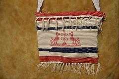 Iné tašky - Tkaná taška bielo-modro-červená s výšivkou - 8851385_
