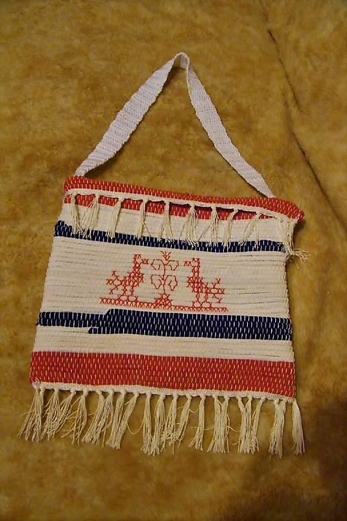 Tkaná taška bielo-modro-červená s výšivkou