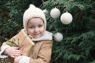Detské čiapky - Zimný pixie čepček VLNA + ALPAKA prírodný - 8860364_