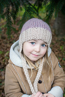 Detské čiapky - Zimná ušianka VLNA + ALPAKA ružová hmla - 8860516_