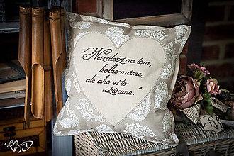 Úžitkový textil - Vankúšik s textom No.1 - 8860894_