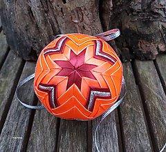 Dekorácie - Oranžovo bordové vianočné gule v košíčku (vzor č.1) - 8858857_