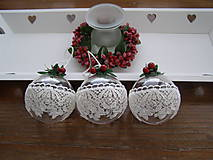 Dekorácie - Vianočné gule krajkové -3ks    - 8861686_