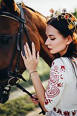 Ozdoby do vlasov - Mosadzný jedinečný venček s farebnými kvetmi - Slavianka - 8860128_