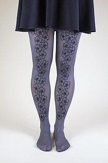 Nohavice - Čierne kvety - 8860314_