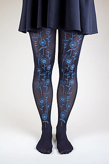 Nohavice - Lúčne kvietky (čierne) - 8860503_