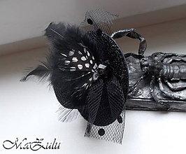 Ozdoby do vlasov - Čierny fascinátor - 8861280_