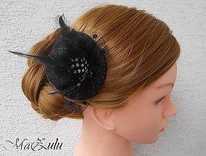Ozdoby do vlasov - Čierny fascinátor, doplnok do vlasov - 8861286_
