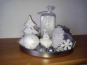 Svietidlá a sviečky - strieborný svietnik so snehuliakom - 8860654_