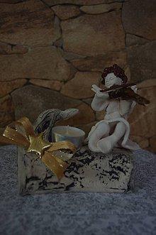 Svietidlá a sviečky - vianočný aranžmán-anjelik - 8856613_