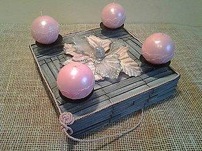 Dekorácie - adventný veniec šedý s ružovou - 8858582_