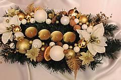 Vianočný svietnik/ikebana tradičná bielo-zlatá