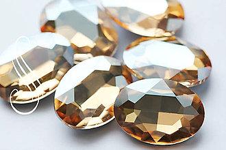 Komponenty - kabošon XL sklenený ovál - 20*30/ 1 ks (Zlatá) - 8860935_