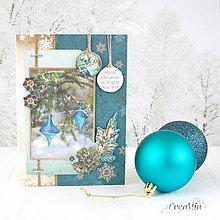 Papiernictvo - Royal Chrismtas - tyrkysovo-zlatá pohľadnica s ozdobami a nápisom Merry Christmas - 8858359_