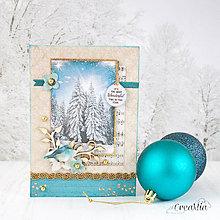 Papiernictvo - Royal Chrismtas - tyrkysovo-zlatá pohľadnica so zasneženými stromami a vtáčikom - 8858415_