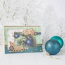 Papiernictvo - Royal Chrismtas - tyrkysovo-zlatá pohľadnica so zlatými sánkami - 8858466_