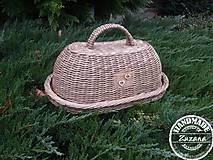 Nádoby - Oválny chlebník s podnosom 40x30x20 - 8858959_