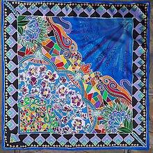 Šatky - Zakvitnutá- hodvábna maľovaná šatka - 8858216_