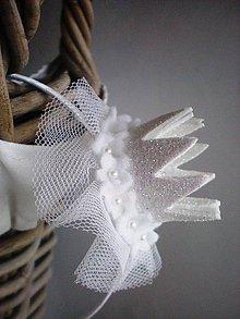 Ozdoby do vlasov - Čelenka s trblietavou korunkou (Maxi- biela) - 8858056_