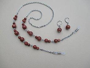 Sady šperkov - Aventurín-polodrahokam-retiazka na okuliare-chir. oceľ - 8856356_