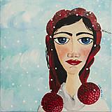 Obrazy - Lena - folk zimný portrét 2 - 8857506_