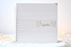 Papiernictvo - Svadobný fotoalbum - s bielou stuhou - 8862110_