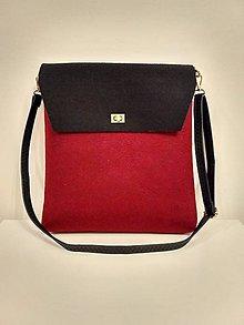 Kabelky - Filcová kabelka bordovo-čierna elegancia - 8861706_