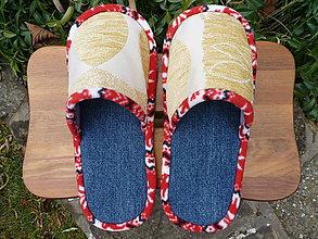Obuv - Rifľové papuče so vzorovým béžovým vrchom - 8860564_