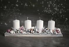 Dekorácie - Adventný svietnik s halúzkami v ružovom - 8859712_