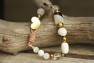 Náramky - Boho náramok z minerálov jadeit, krištáľ, magnezit, achát, hematit - 8861704_