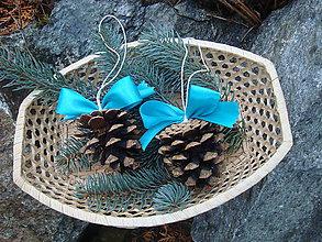 Dekorácie - Vianočná šiška s tyrkysovou mašličkou.... - 8859441_